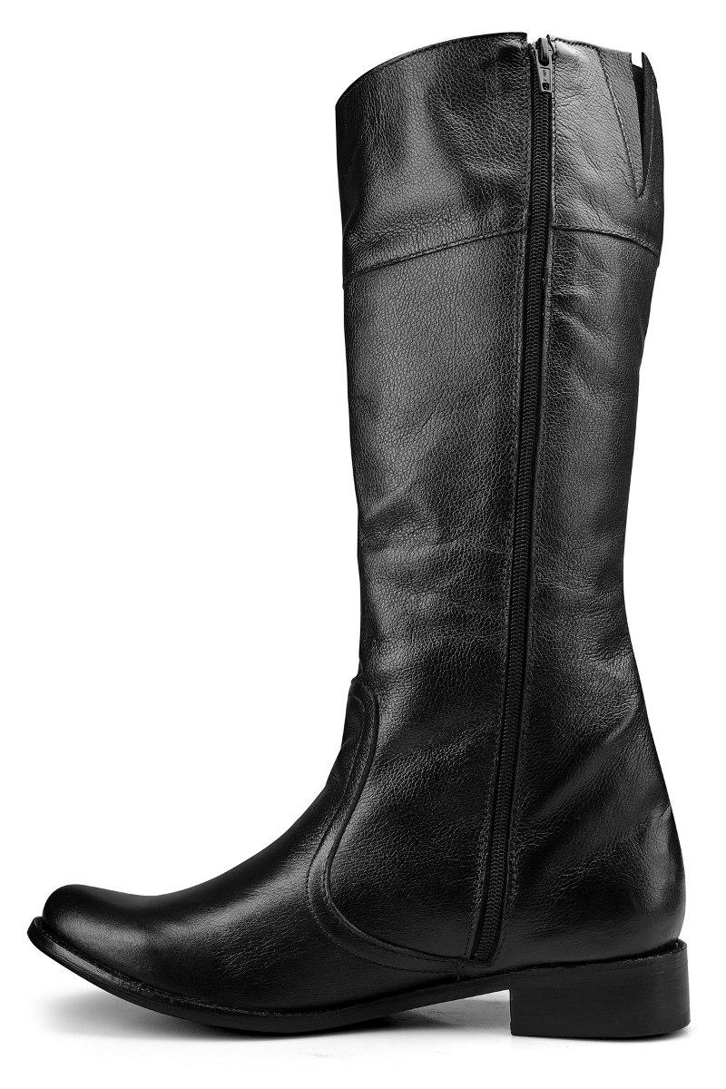 b5406bec41b bota montaria feminina cano longo galocha salto couro preta. Carregando  zoom.