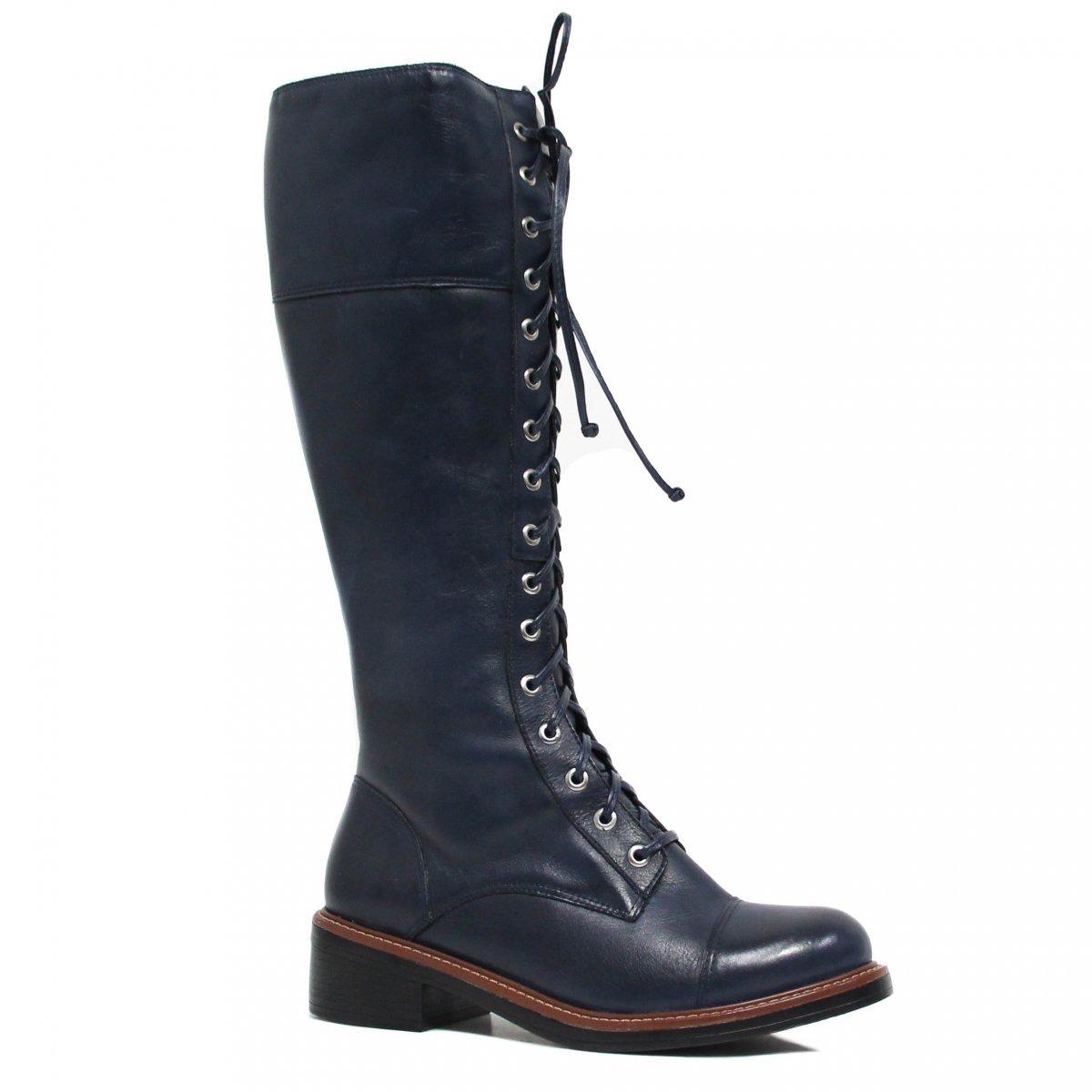 435e1d1df28 Bota Montaria Zariff Shoes Coturno Couro Azul 884zrf