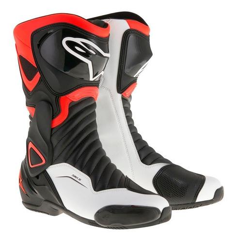 bota moto alpinestars smx-6 v2 preta vermelha branca