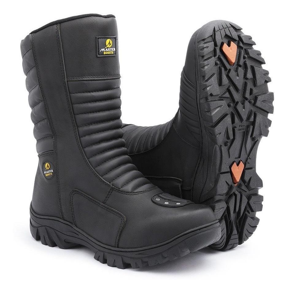 a8e3943c96 bota motociclista cano alto ziper lado moto proteção no bico. Carregando  zoom.