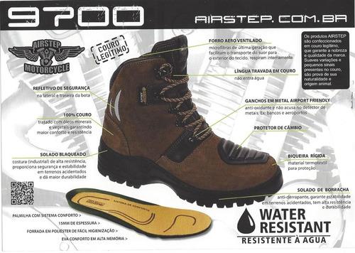 bota motociclista couro resistente agua preto airstep 9700
