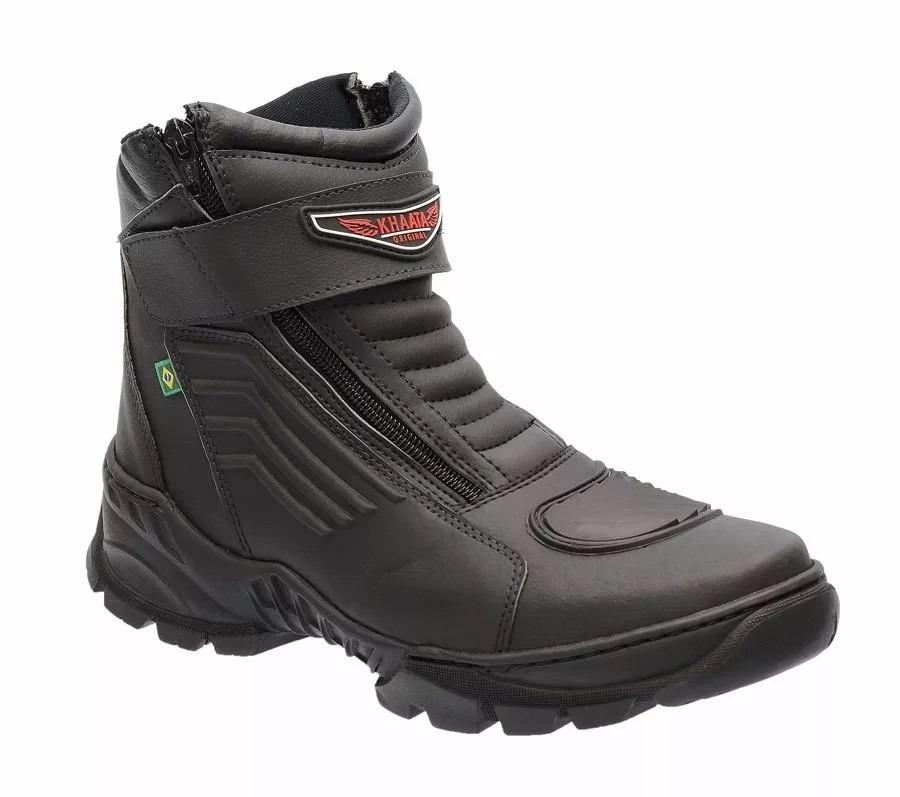 8cf043cef7 bota motociclista palmilha em gel e ziper lateral pre khaata. Carregando  zoom.