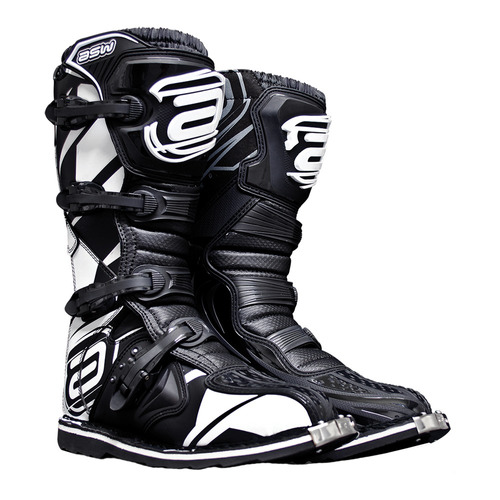 bota motocross asw core trilha enduro off road preto branco