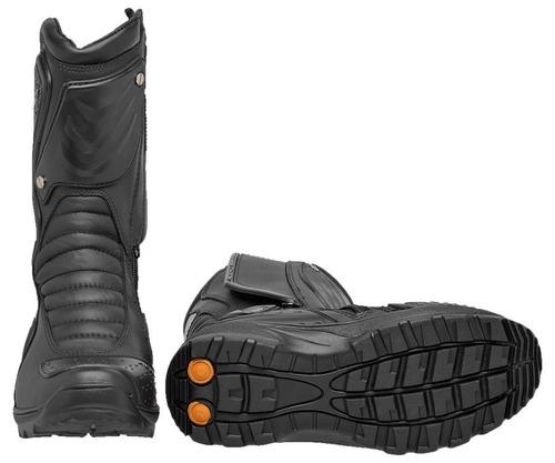 bota motocross motoqueiros em couro borracha preto acero