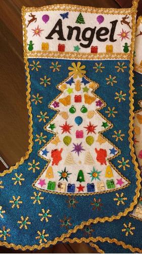 bota navideña artesanal 45x30 fieltro personalizada. regalo