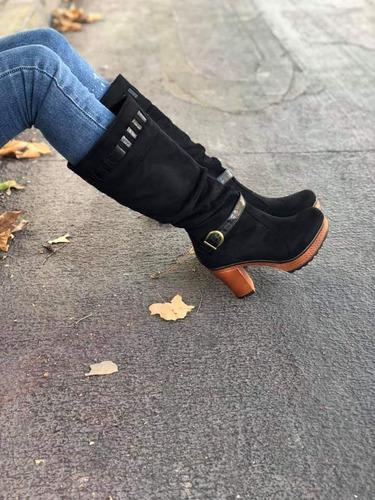 bota negra con taco full moda  envío gratis