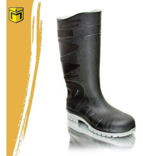 bota ombu de pvc negra y blanca sin puntera de acero