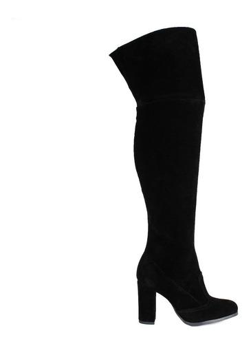 bota over preta camurca com salto bloco alto