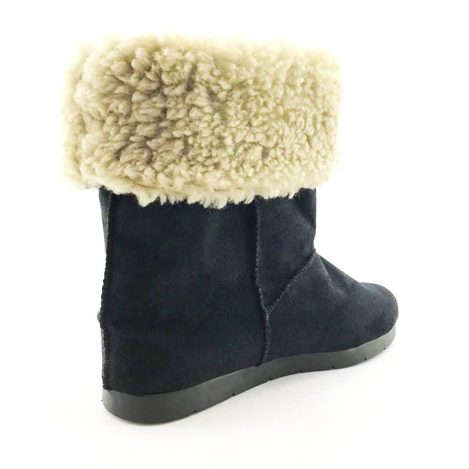 11f32a1a16 bota quality shoes forrada em lã camurça preta. Carregando zoom.