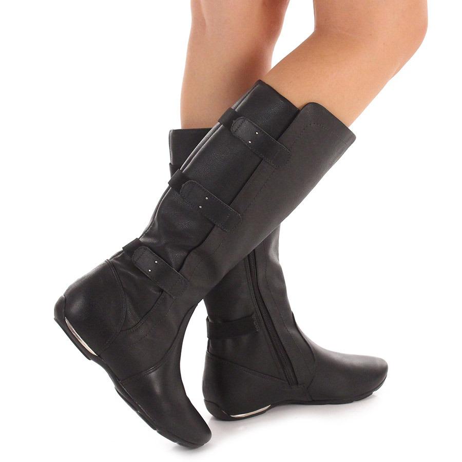 10e5b3c41d9 bota rasteira conforto feminina comfortflex - preto. Carregando zoom.