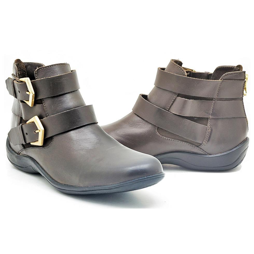1b911410c82 bota rasteira feminina café cano curto 100% couro legítimo. Carregando zoom.