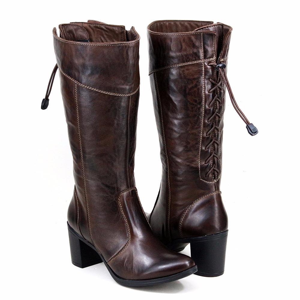 8fd126a0a bota salto alto feminina bico fino cano alto 100% couro luxo. Carregando  zoom.