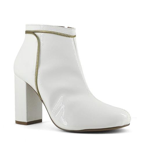 bota salto bloco detalhe em zíper - shoes inbox