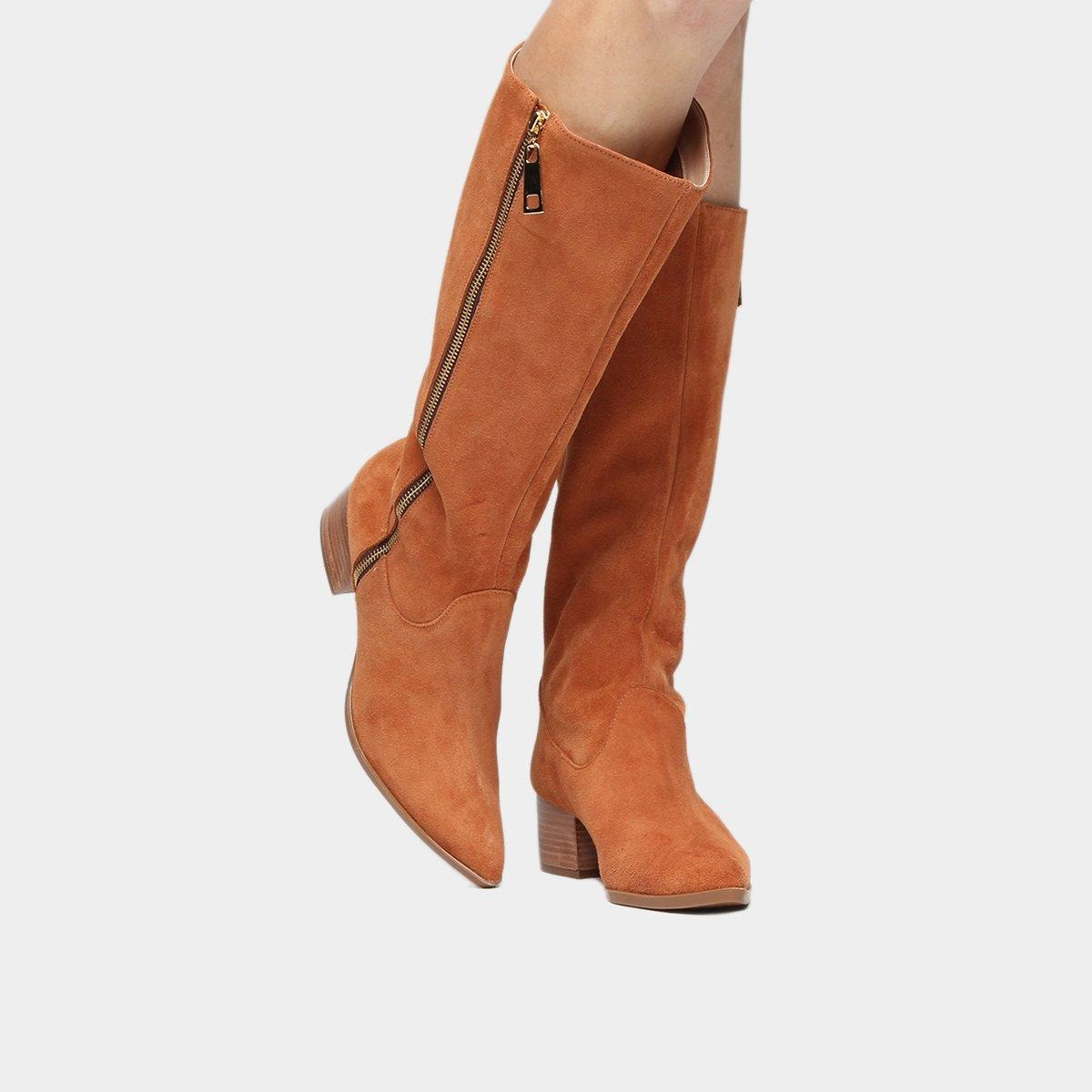 a8e72e6ae4 bota shoestock cano longo salto grosso bico fino ziper. Carregando zoom.