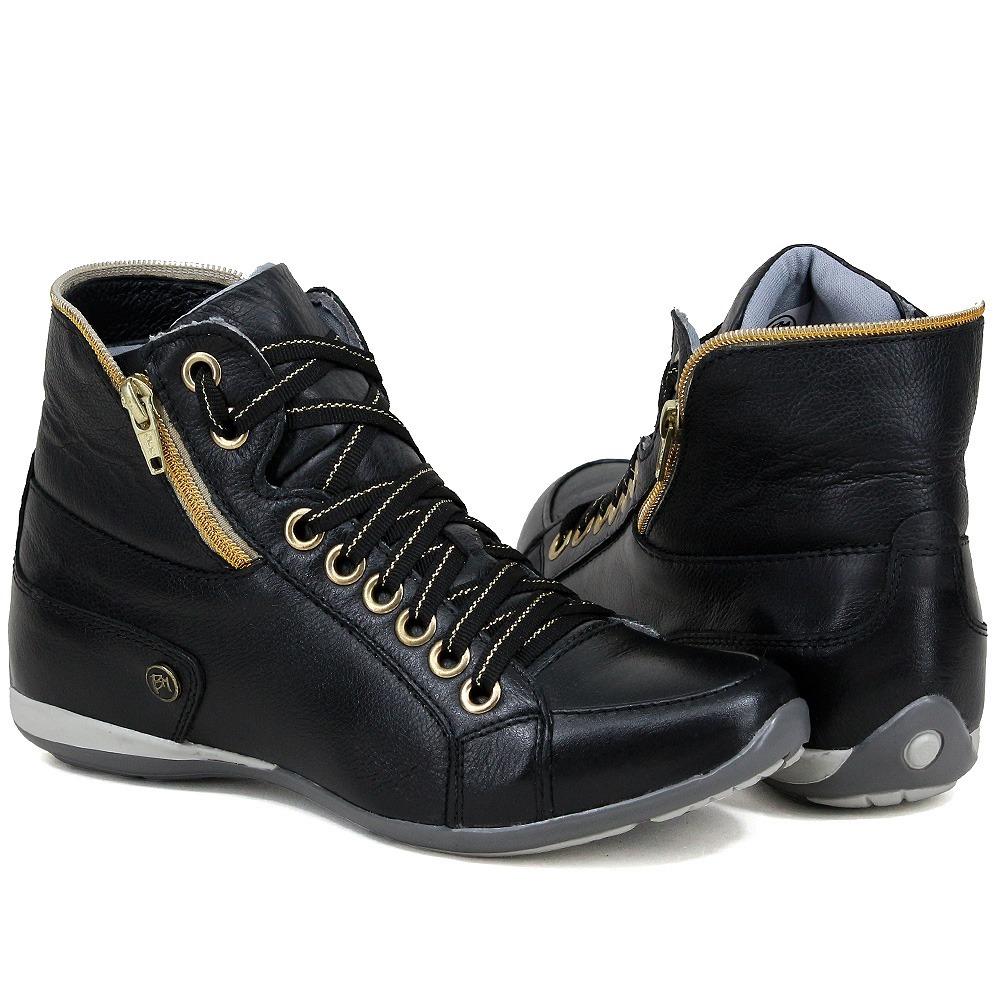 8263753a8b8 Bota Sneakers 100% Couro Feminino Tênis Cano Alto Casual - R  179
