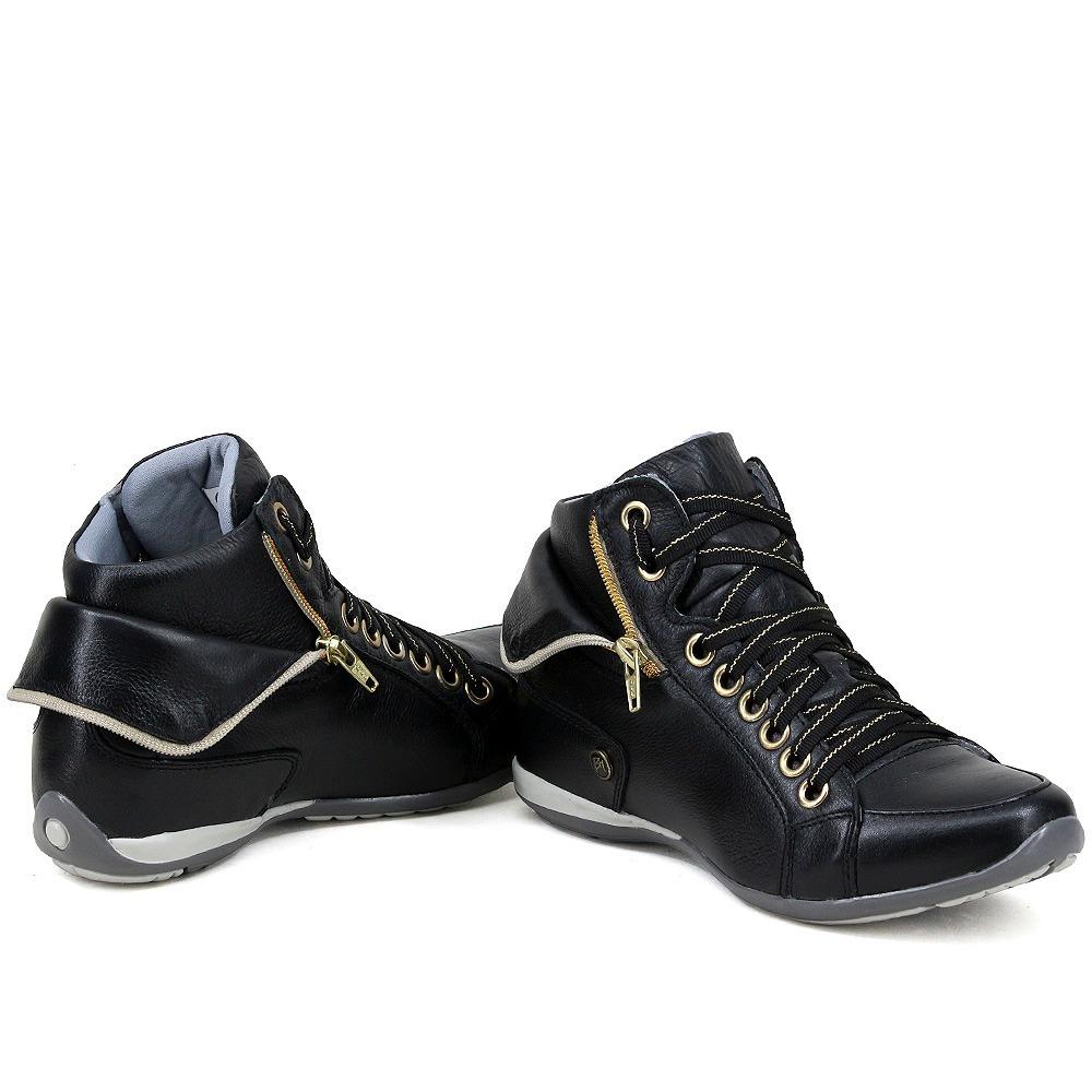 d21d0e0312 bota sneakers 100% couro feminino tênis cano alto casual. Carregando zoom.