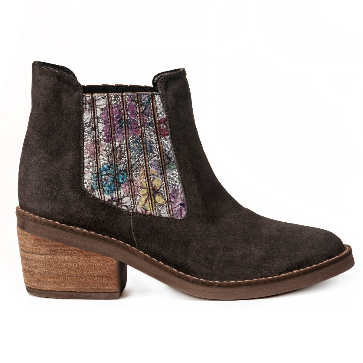 92fe316f74098 bota suela goma taco ancho cuero mujer gris elastico flores. Cargando zoom.