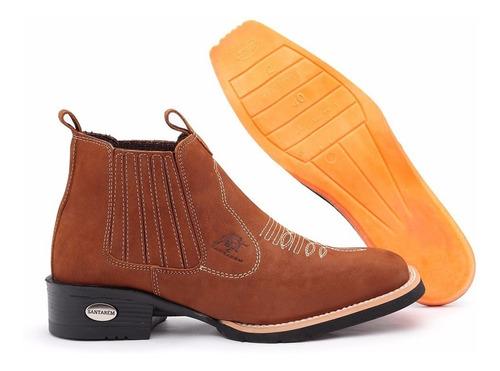 bota texana country botina bico quadrado