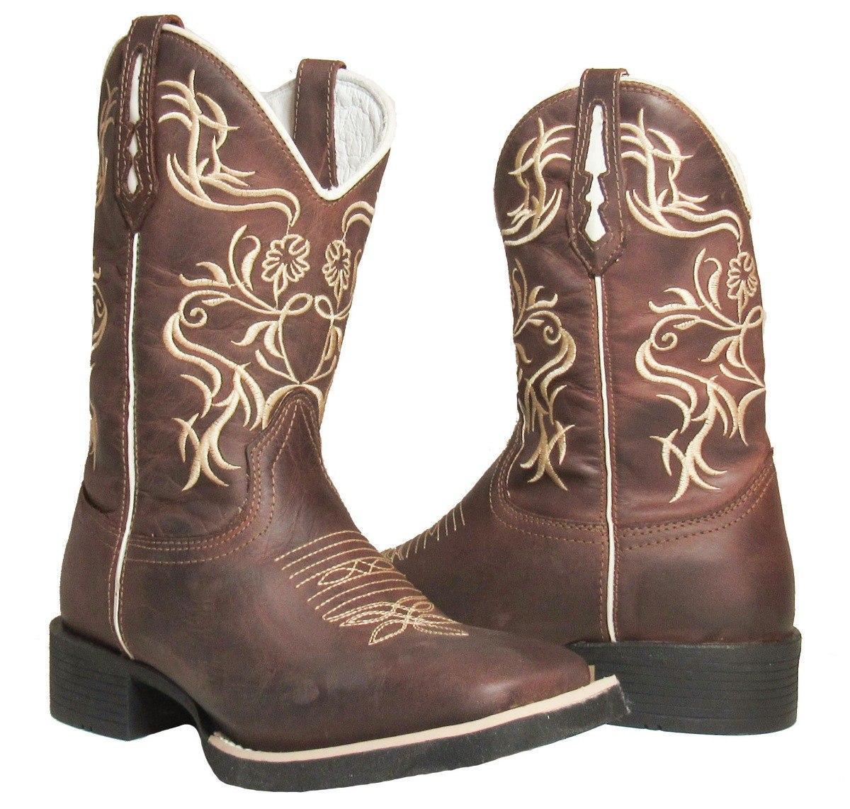 115f214cdb bota texana country fem 100% couro bordada bico quadrado. Carregando zoom.