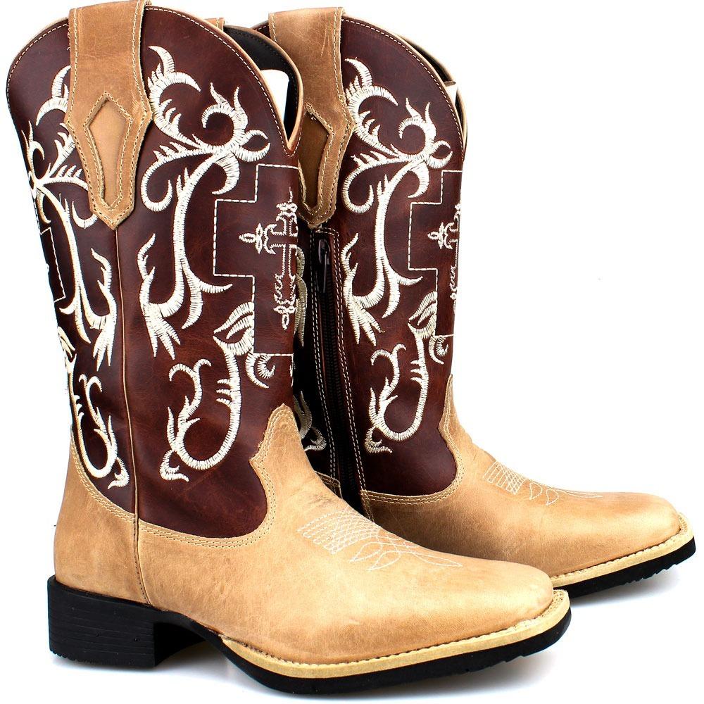 9b08e504bd Bota Texana Country Feminino Em Couro Rodeio Festa Cawboy - R$ 199 ...