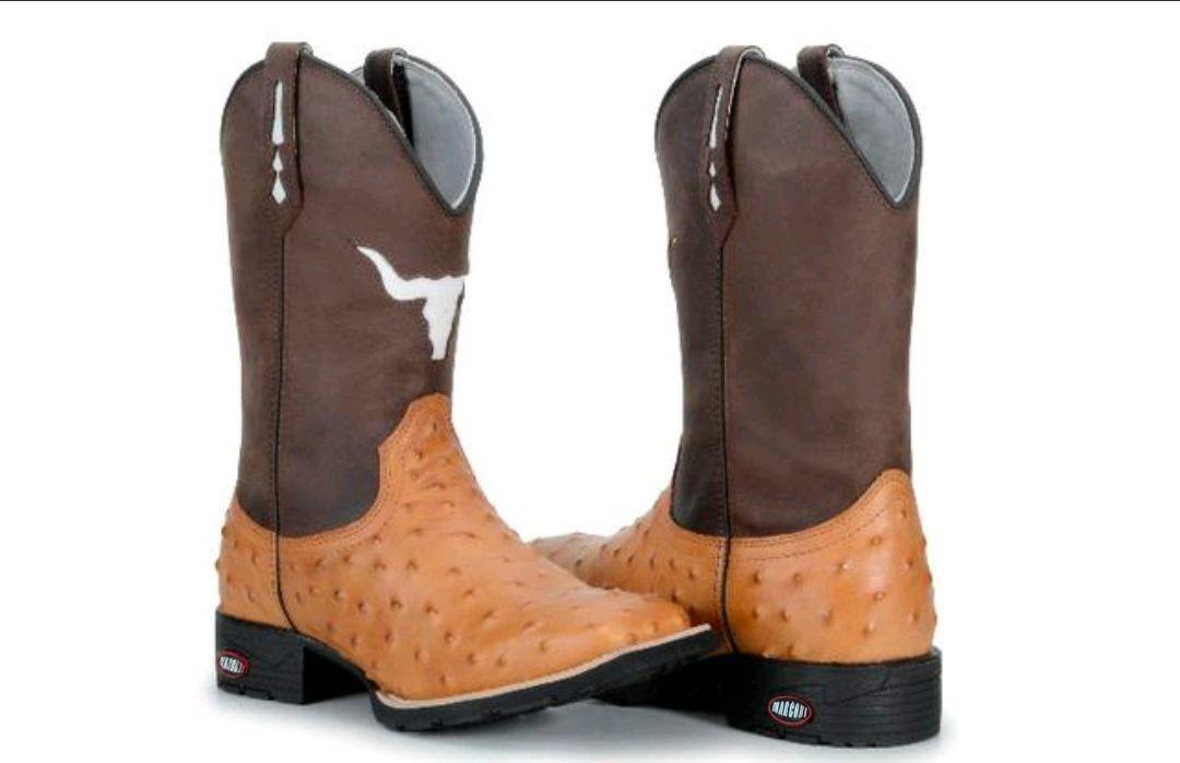 2b0b144b4e6 bota texana country replica couro avestruz bico quadrado boi. Carregando  zoom.