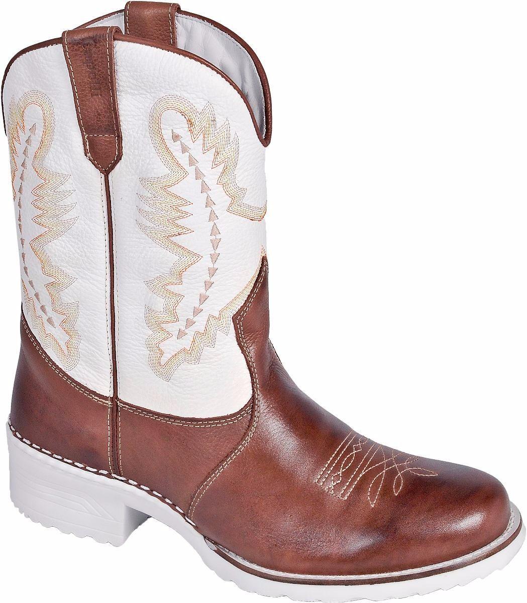 8fc9e8a9b Bota Texana Country Solado Branco Capelli Boots - R$ 269,90 em ...