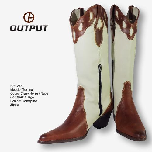 bota texana crazy horse / bege  output boots