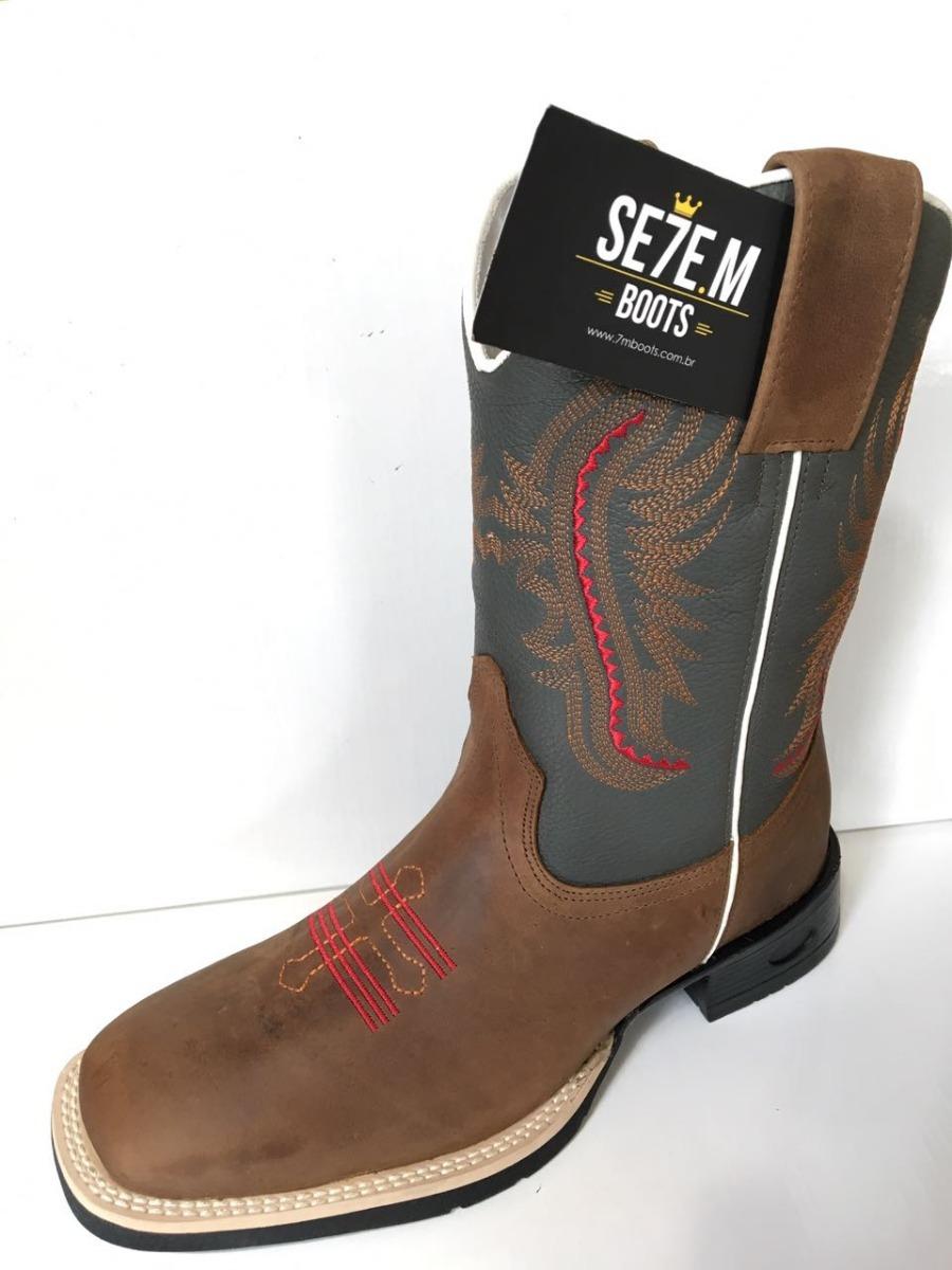 bota texana em couro bico quadrado ellest goyazes carrapeta. Carregando  zoom. c2293b8f212