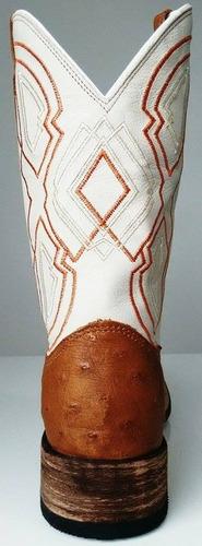 bota texana em couro exótico de avestruz bico redondo