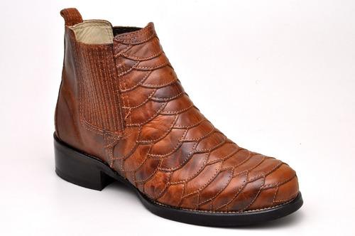 bota texana escamada forro de couro sola borracha