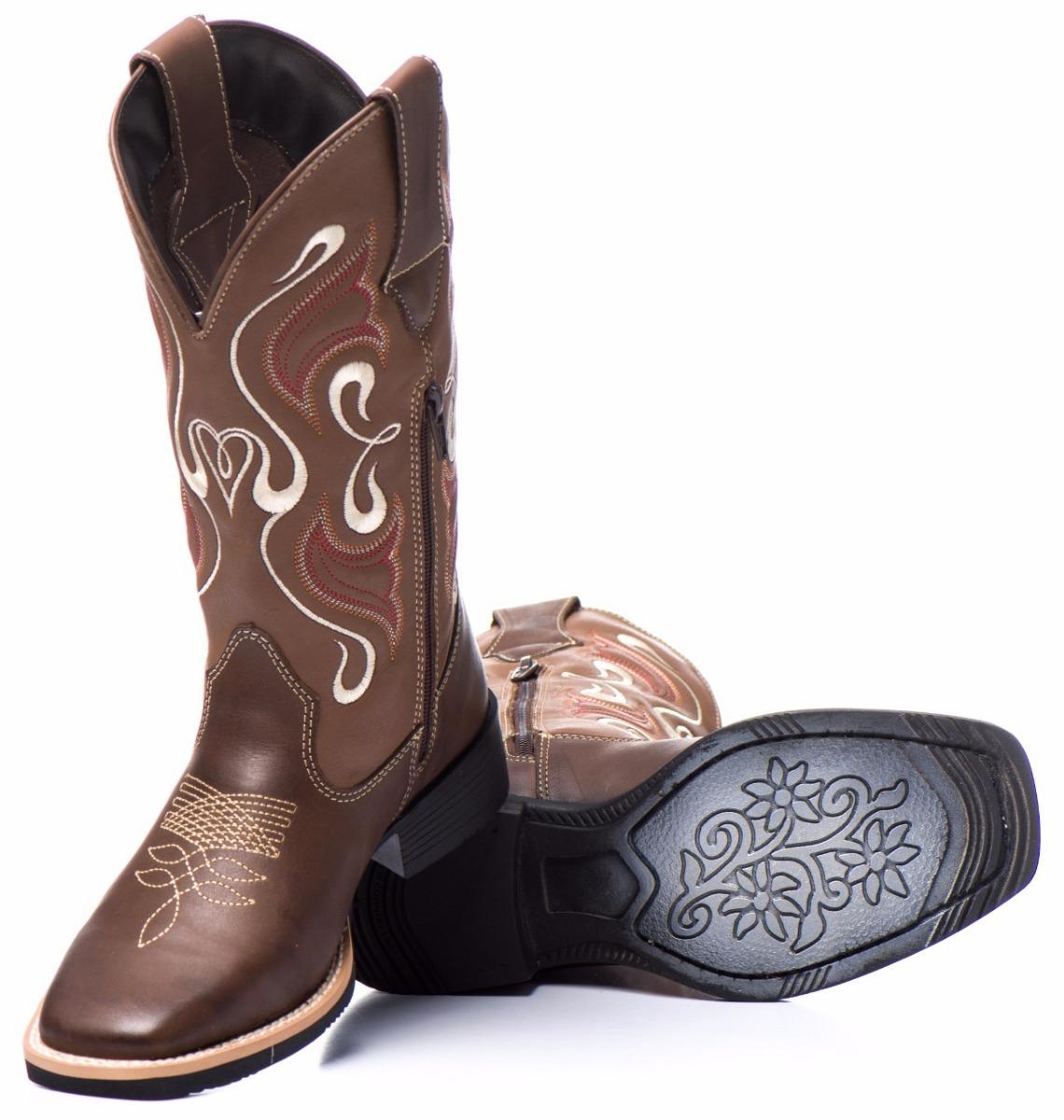 413681ee55 bota texana feminina 100% couro mulher country. Carregando zoom.