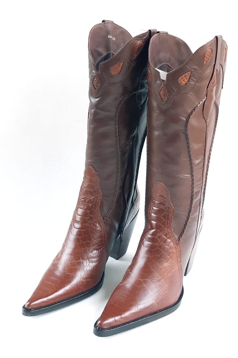 48be32ab4 Bota Texana Feminina Bico Fino - Croco Conhaque - R$ 319,94 em ...