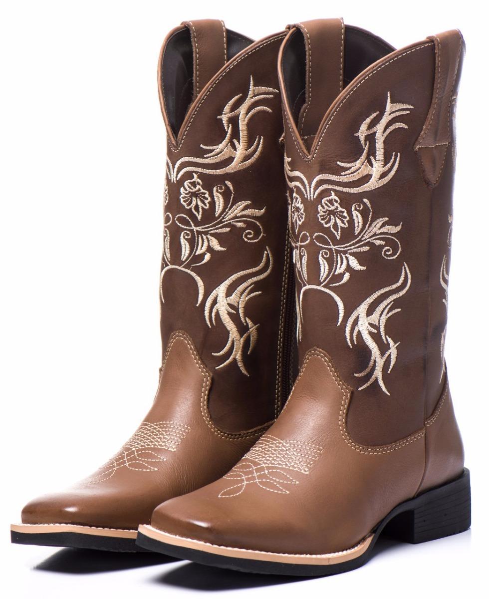 bb9475614b bota texana feminina bico quadrado cano médio bordado couro. Carregando  zoom.