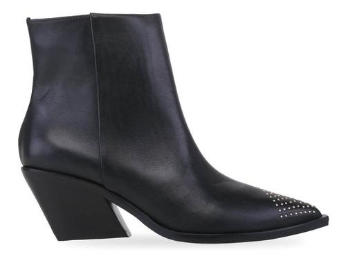 bota texana feminina cano curto c/ rebites salto baixo 5,5cm