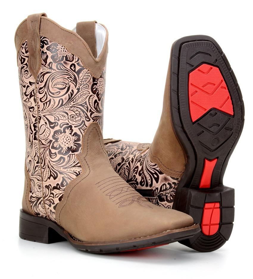 e35bf9c68f bota texana feminina country bico quadrado cano médio bege. Carregando zoom.