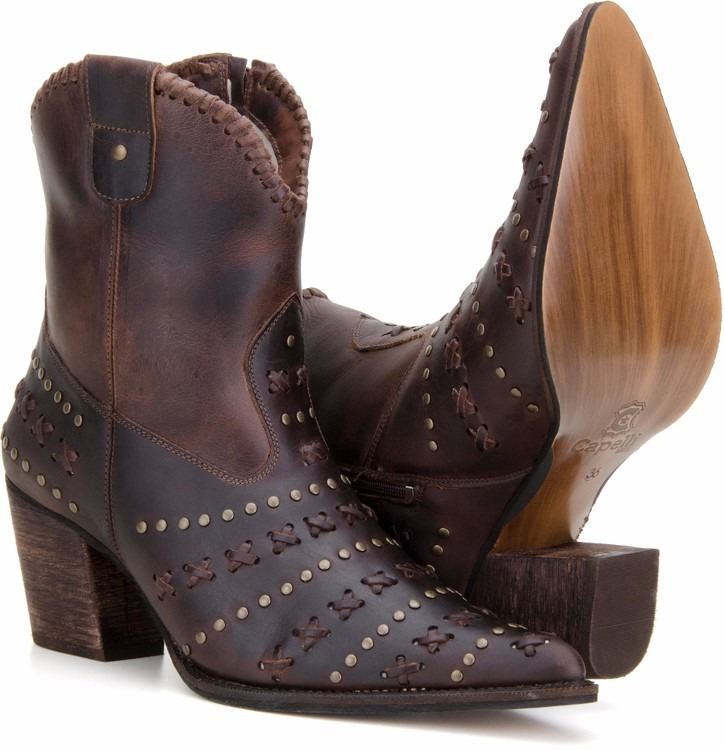 5c0b2c038 Bota Texana Feminina Country Couro Cano Curto Capelli Boots - R  239 ...