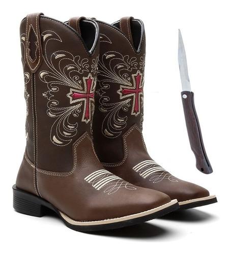 bota texana feminina country em couro resistente + canivete