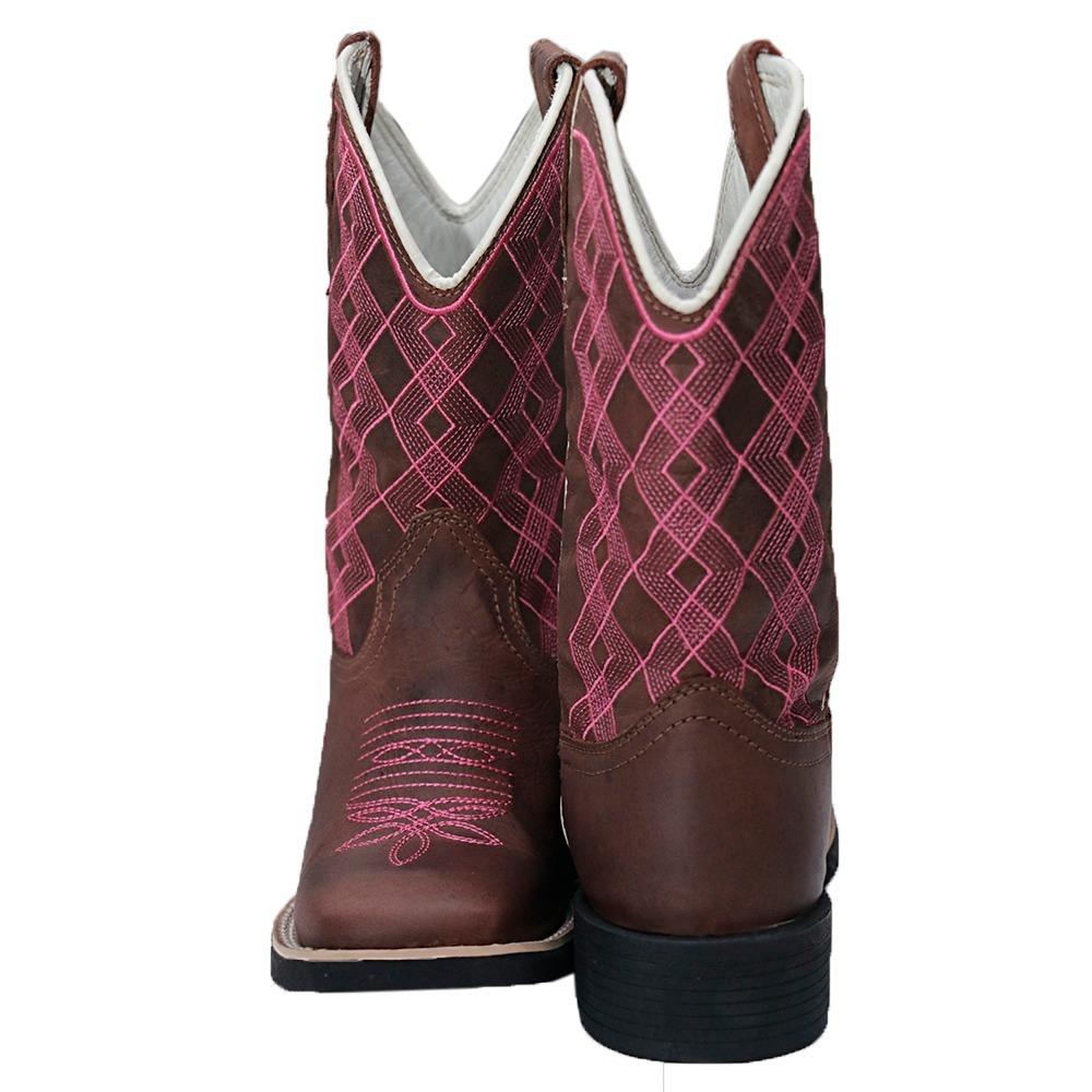 dbb13a6c3c1e6 Bota Texana Feminina Crazy Horse-bordado Rosa - R  269