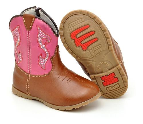 bota texana feminina para bebê em couro com zíper lateral :