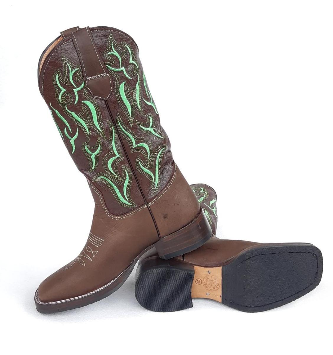 edef059a08 Bota Texana Marrom Com Bordado Verde - R$ 298,00 em Mercado Livre