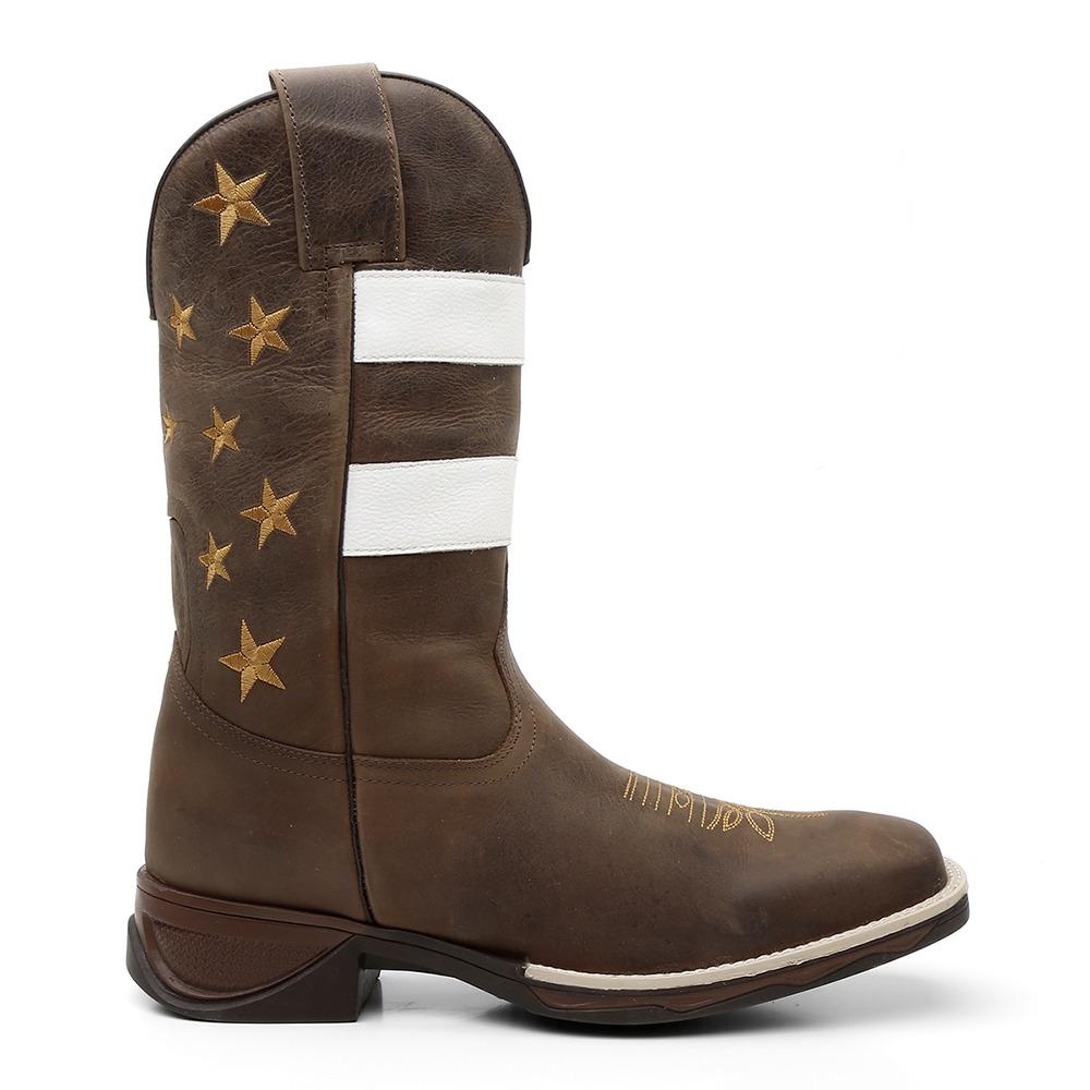 Bota Texana Marrom Listrada Country Cano Longo Masculina - R  307 4fd7d9f186b