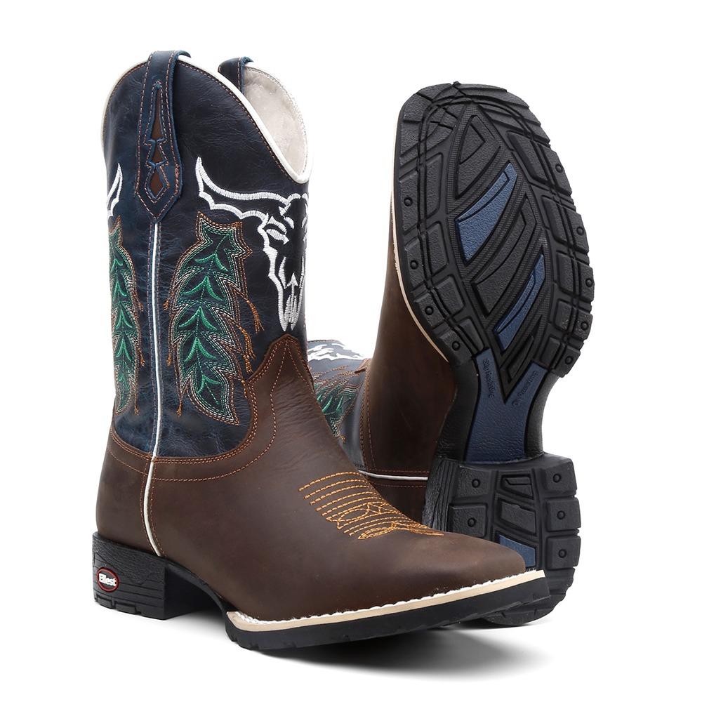 bota texana masculina azul couro legitimo country cano alto. Carregando  zoom. f2f907a1739