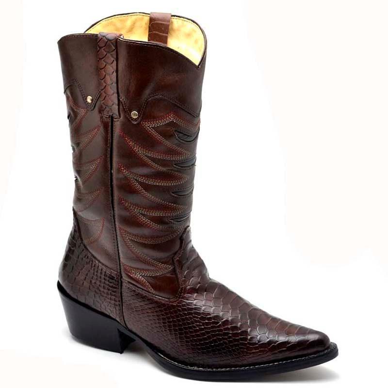 bota texana masculina bico fino jacaré botina couro nobre. Carregando zoom. fa8af08560f
