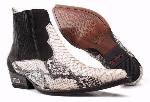 bota texana masculina country botina bico fino couro