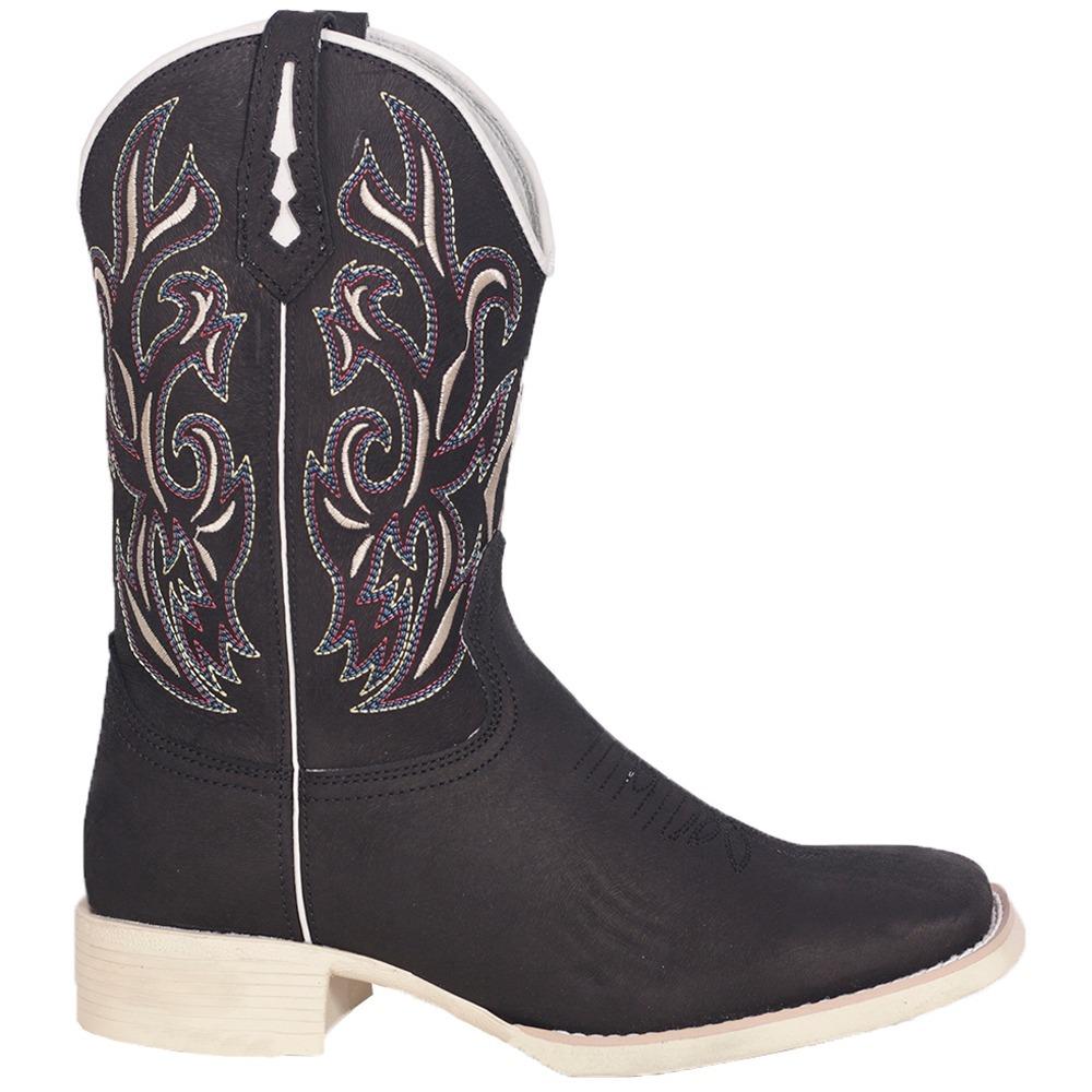 5c43aa5c82 bota texana masculina couro preto bordado bico quadrado. Carregando zoom.