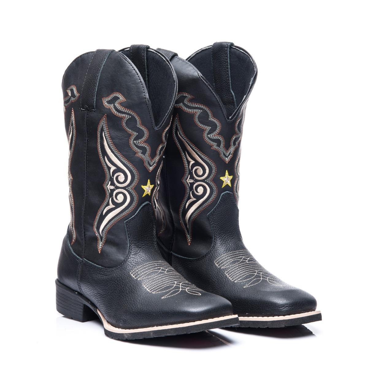 Bota Texana Masculino Em Couro Legitimo Xerife Black - R  179 df66f41778c