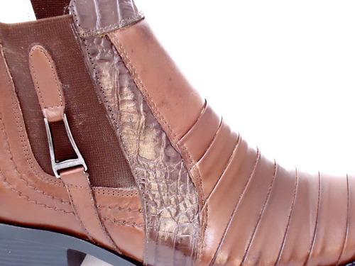 bota texana peão cowboy cavaleiro em couro leve - sapatocia