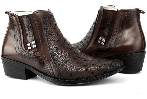 bota texana peão cowboy cavaleiro em couro leve texturizada