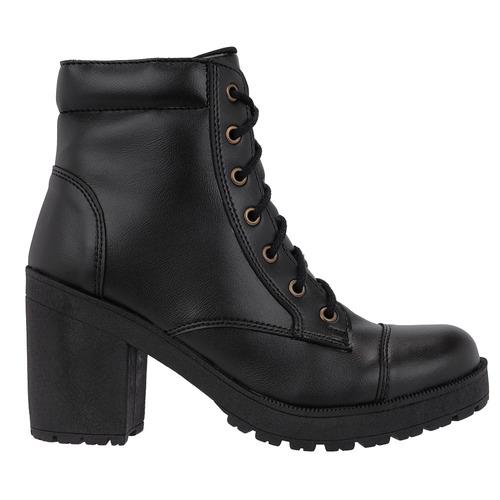 bota tratorada feminino verniz salto alto ziper preta fosca