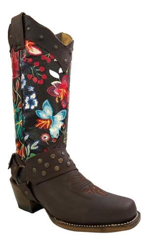 bota vaquera dama con tubo de flores negro y cinturón